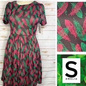 S Amelia Jacquard pink/green feathers w/pockets
